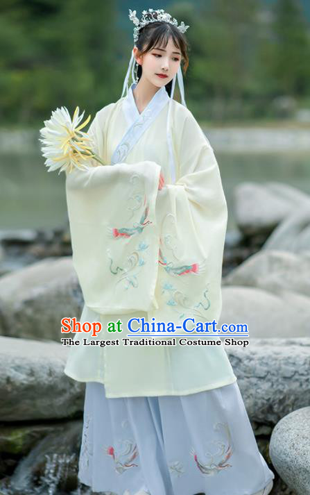 Chinese Traditional Hanfu Dress Ancient Ming Dynasty Court Lady Embroidered Historical Costume for Women