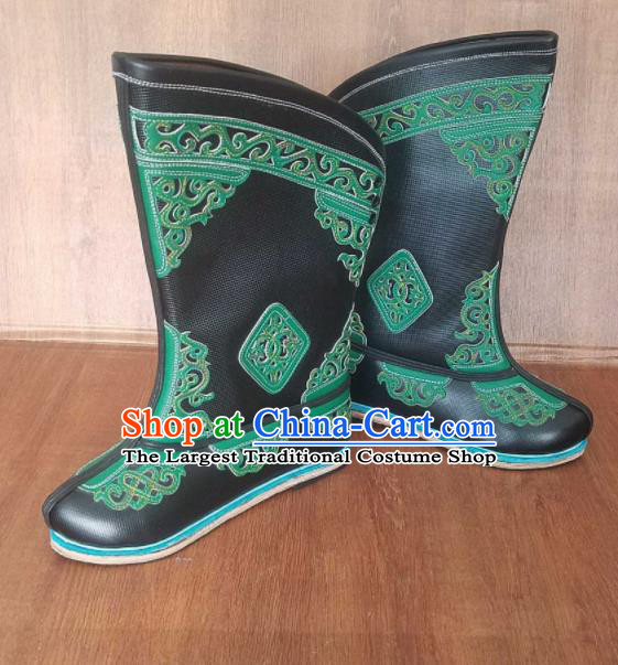 Traditional Chinese Mongol Ethnic Handmade Black Leather Boots Mongolian Minority Folk Dance Shoes for Men