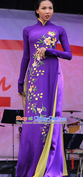 Asian Vietnam Traditional Printing Purple Dress Bride Costume Vietnamese National Classical Ao Dai Cheongsam for Women
