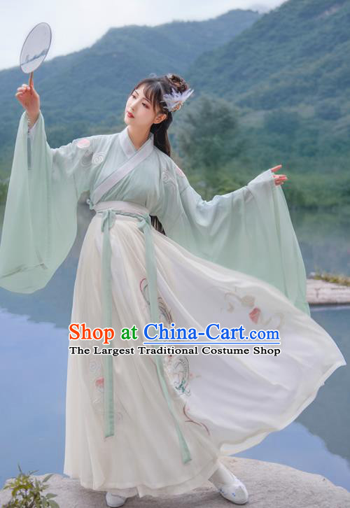 Chinese Traditional Swordsman Hanfu Dress Ancient Jin Dynasty Court Embroidered Historical Costume for Women