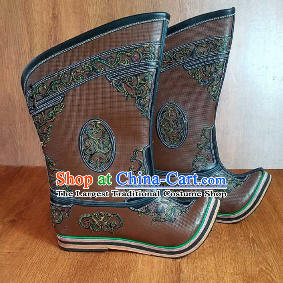 Traditional Chinese Mongol Ethnic Embroidered Leather Boots Mongolian Minority Folk Dance Handmade Shoes for Men