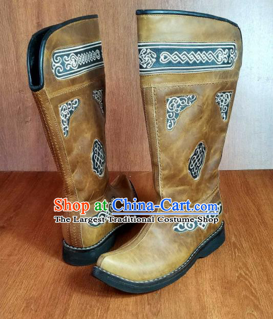 Traditional Chinese Mongol Ethnic Ginger Leather High Boots Mongolian Minority Folk Dance Handmade Shoes for Men