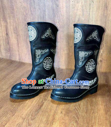 Traditional Chinese Mongol Ethnic Black Leather Boots Mongolian Minority Folk Dance Handmade Shoes for Men