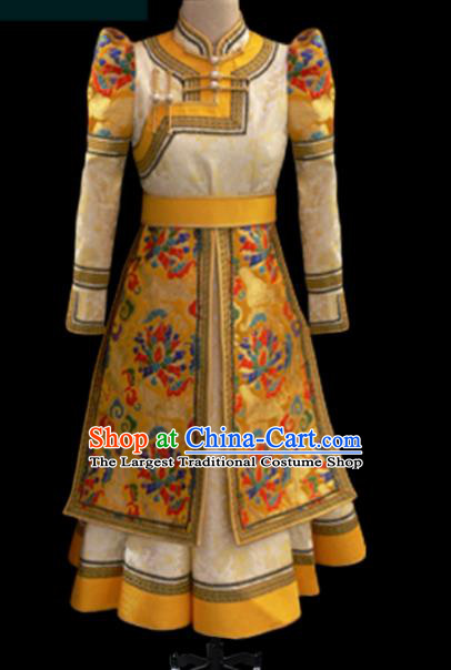 Traditional Chinese Mongol Ethnic Yellow Dress Mongolian Minority Folk Dance Clothing for Kids
