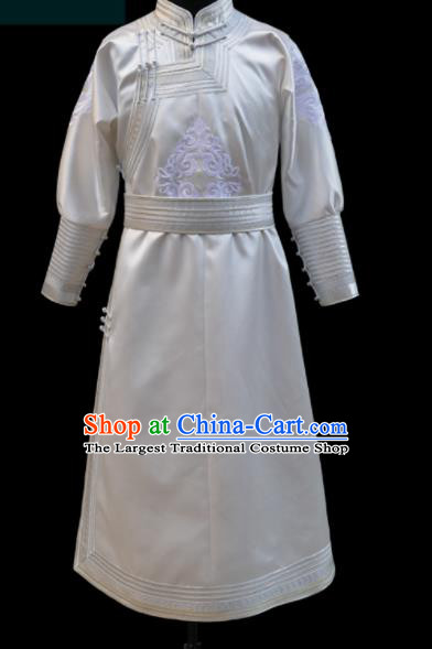 Chinese Traditional Mongol Ethnic Bridegroom White Robe Mongolian Minority Folk Dance Costume for Men