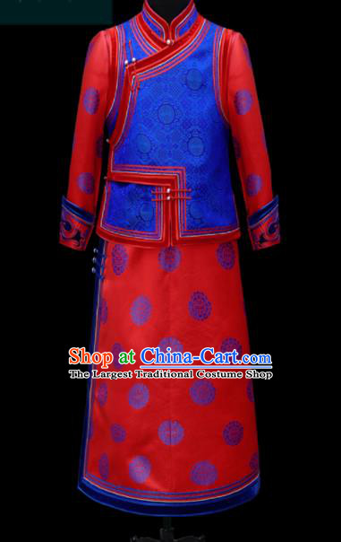 Chinese Traditional Mongol Ethnic Bridegroom Red Robe Mongolian Minority Folk Dance Costume for Men