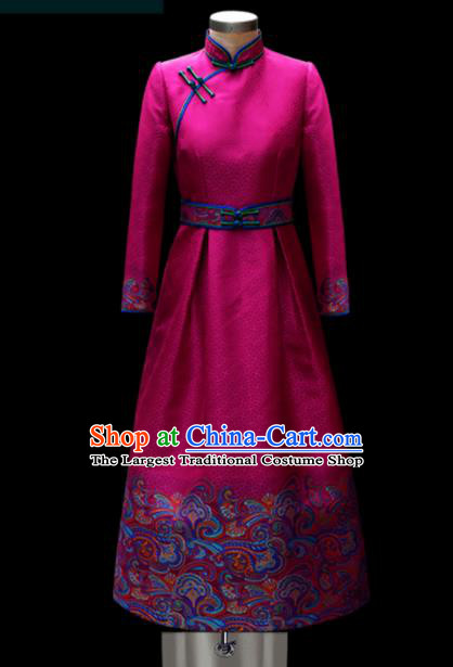 Traditional Chinese Mongol Ethnic Wedding Rosy Dress Mongolian Minority Folk Dance Embroidered Costume for Women