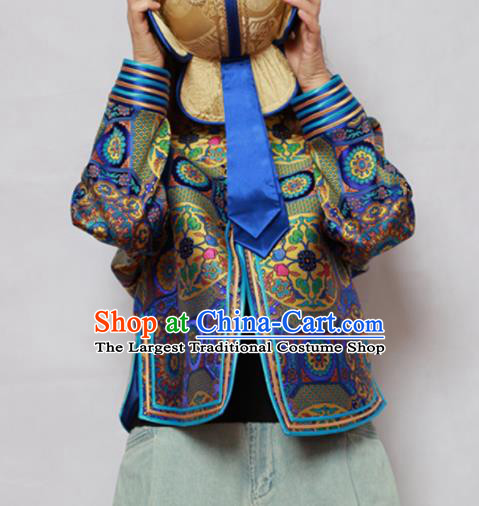Traditional Chinese Mongol Ethnic Blue Cotton Wadded Jacket Mongolian Minority Folk Dance Costume for Women