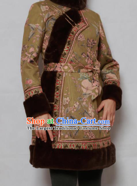 Traditional Chinese Mongol Ethnic Olive Green Cotton Wadded Jacket Mongolian Minority Folk Dance Costume for Women