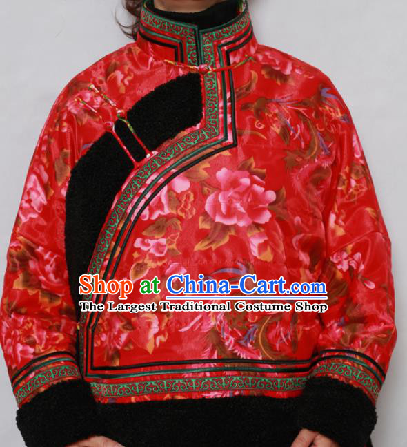 Traditional Chinese Mongol Ethnic Red Cotton Wadded Jacket Mongolian Minority Folk Dance Costume for Women