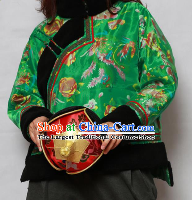 Traditional Chinese Mongol Ethnic Printing Green Cotton Wadded Jacket Mongolian Minority Folk Dance Costume for Women