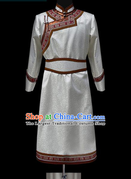Chinese Traditional Mongol Ethnic Wedding White Robe Mongolian Minority Folk Dance Costume for Men