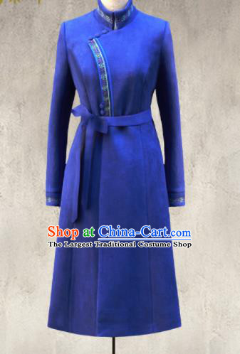Traditional Chinese Mongol Ethnic Royalblue Suede Coat Mongolian Minority Folk Dance Costume for Women