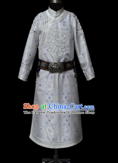 Chinese Traditional Mongol Ethnic National White Robe Mongolian Minority Folk Dance Costume for Men
