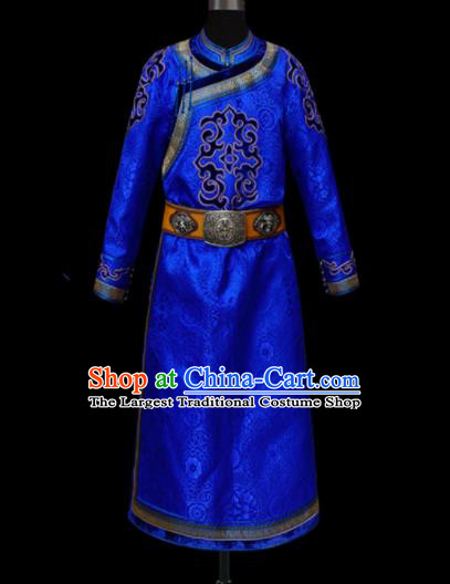 Chinese Traditional Mongol Ethnic National Royalblue Robe Mongolian Minority Folk Dance Costume for Men