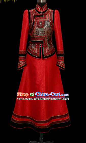 Traditional Chinese Mongol Ethnic Wedding Red Dress Mongolian Minority Folk Dance Costume for Women