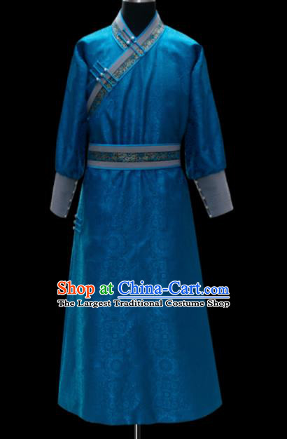 Chinese Traditional Mongol Ethnic National Blue Robe Mongolian Minority Folk Dance Costume for Men