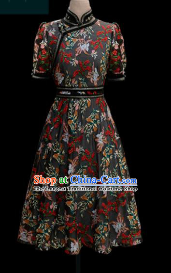 Traditional Chinese Mongol Ethnic Lace Dress Mongolian Minority Folk Dance Embroidered Costume for Women