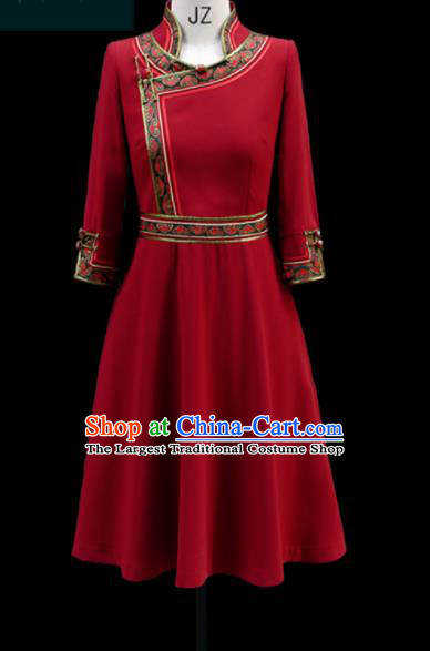 Traditional Chinese Mongol Ethnic Red Dress Mongolian Minority Folk Dance Embroidered Costume for Women