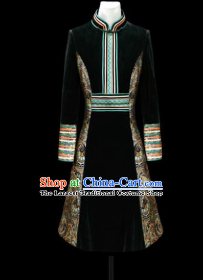 Chinese Traditional Mongol Ethnic National Black Velvet Robe Mongolian Minority Folk Dance Costume for Men