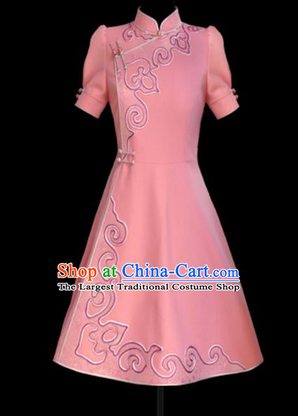 Traditional Chinese Mongol Ethnic National Pink Short Dress Mongolian Minority Folk Dance Costume for Women