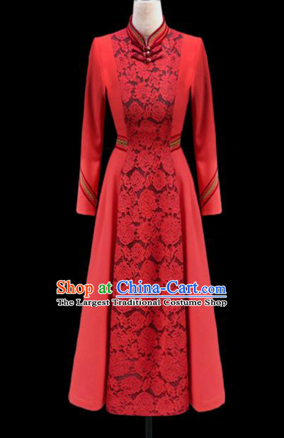 Traditional Chinese Mongol Ethnic National Red Lace Dress Mongolian Minority Folk Dance Costume for Women