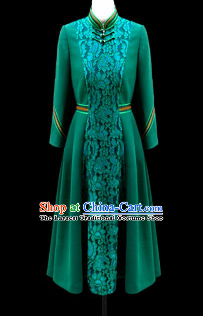 Traditional Chinese Mongol Ethnic National Deep Green Lace Dress Mongolian Minority Folk Dance Costume for Women