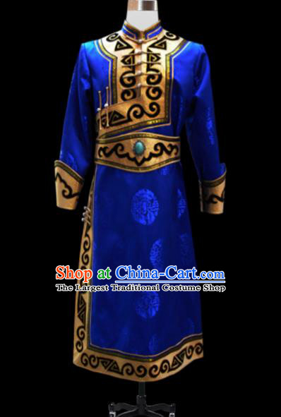 Chinese Traditional Mongol Ethnic National Royalblue Brocade Robe Mongolian Minority Folk Dance Costume for Men