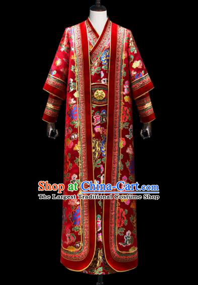 Chinese Traditional Mongol Ethnic National Wedding Red Brocade Robe Mongolian Minority Folk Dance Costume for Men