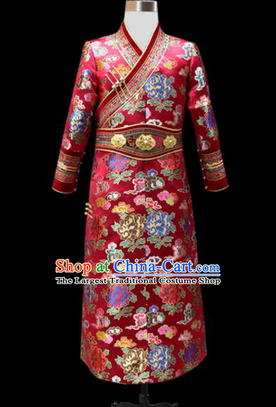 Chinese Traditional Mongol Ethnic Wedding Red Brocade Robe Mongolian Minority National Folk Dance Costume for Men