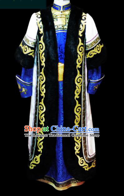 Chinese Traditional Mongol Ethnic Wedding Robe Mongolian Minority National Folk Dance Costume for Men