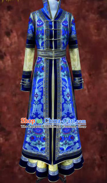 Traditional Chinese Mongol Ethnic National Royalblue Brocade Dress Mongolian Minority Folk Dance Costume for Women