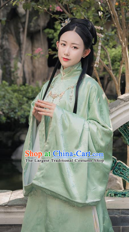 Asian Chinese Ming Dynasty Imperial Consort Replica Costume Traditional Ancient Palace Green Hanfu Dress for Women