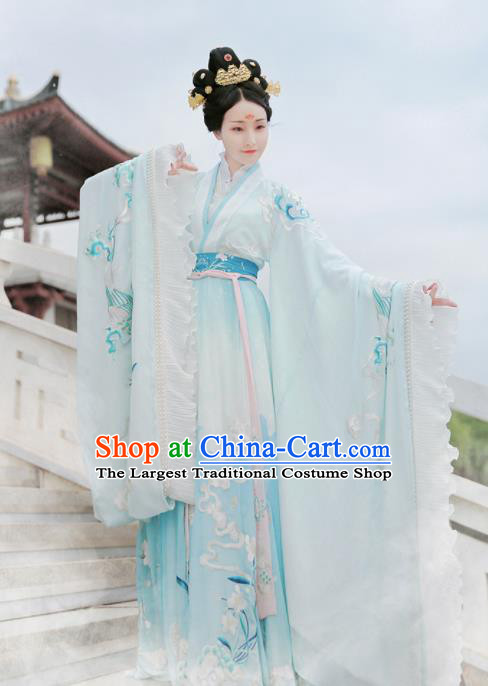 Ancient Chinese Jin Dynasty Imperial Consort Replica Costume Traditional Mythology Goddess Luo Embroidered Hanfu Dress for Women