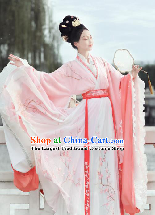 Ancient Chinese Jin Dynasty Court Princess Replica Costume Traditional Mythology Peri Pink Embroidered Hanfu Dress for Women