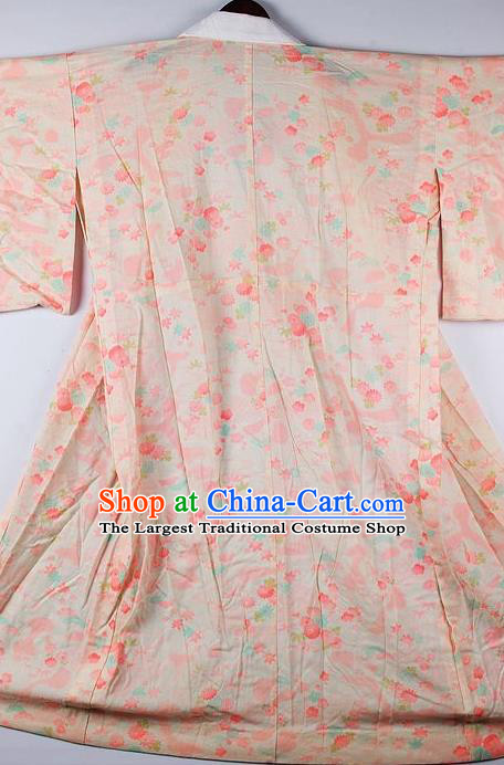 Japanese Traditional Ceremony Costume Printing Peach Blossom Furisode Kimono Asian Japan National Yukata Dress for Women