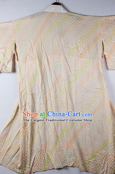 Japanese Traditional Ceremony Costume Printing Beige Furisode Kimono Asian Japan National Yukata Dress for Women