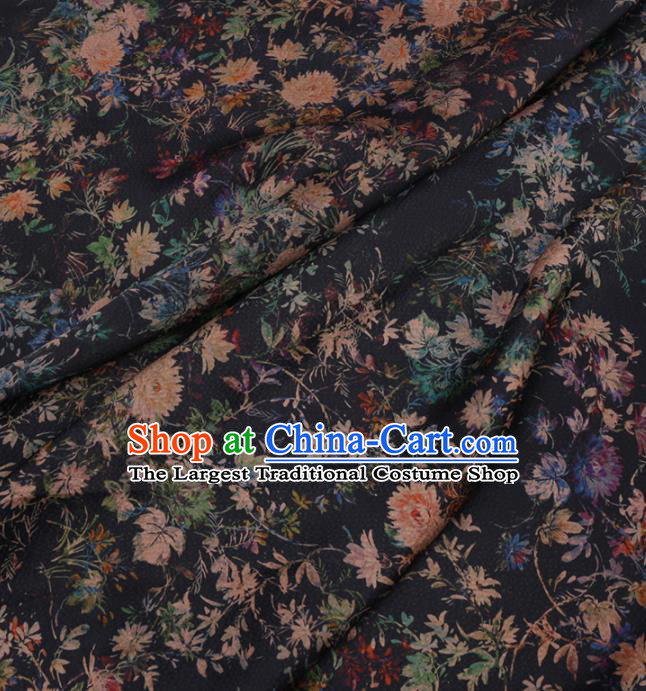 Traditional Chinese Navy Gambiered Guangdong Gauze Silk Fabric Classical Pattern Design Brocade Fabric Asian Satin Material