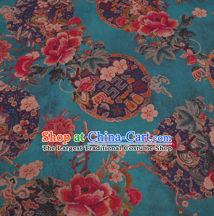 Traditional Chinese Green Gambiered Guangdong Gauze Silk Fabric Classical Plum Blossom Pattern Design Brocade Fabric Asian Satin Material
