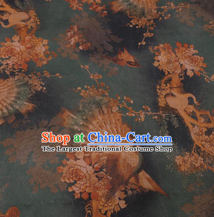 Traditional Chinese Green Gambiered Guangdong Gauze Classical Peacock Pattern Design Silk Fabric