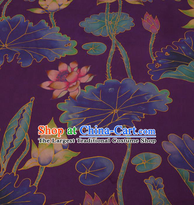 Traditional Chinese Purple Gambiered Guangdong Gauze Classical Lotus Pattern Design Silk Fabric