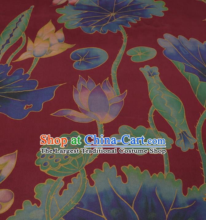 Traditional Chinese Wine Red Gambiered Guangdong Gauze Classical Lotus Pattern Design Silk Fabric