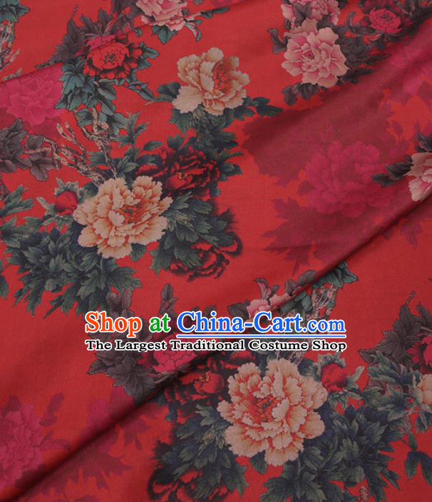 Traditional Chinese Red Gambiered Guangdong Gauze Classical Peony Pattern Design Silk Fabric