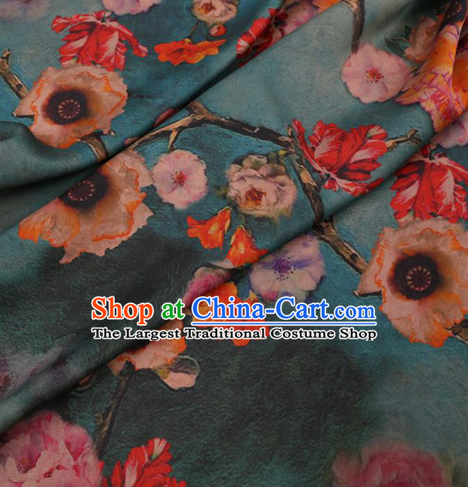 Traditional Chinese Green Gambiered Guangdong Gauze Classical Hibiscus Pattern Design Silk Fabric