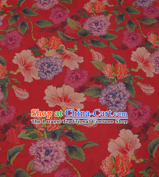 Traditional Chinese Classical Peony Pattern Design Red Gambiered Guangdong Gauze Asian Brocade Silk Fabric