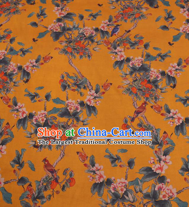 Traditional Chinese Classical Pear Flowers Pattern Design Yellow Gambiered Guangdong Gauze Asian Brocade Silk Fabric