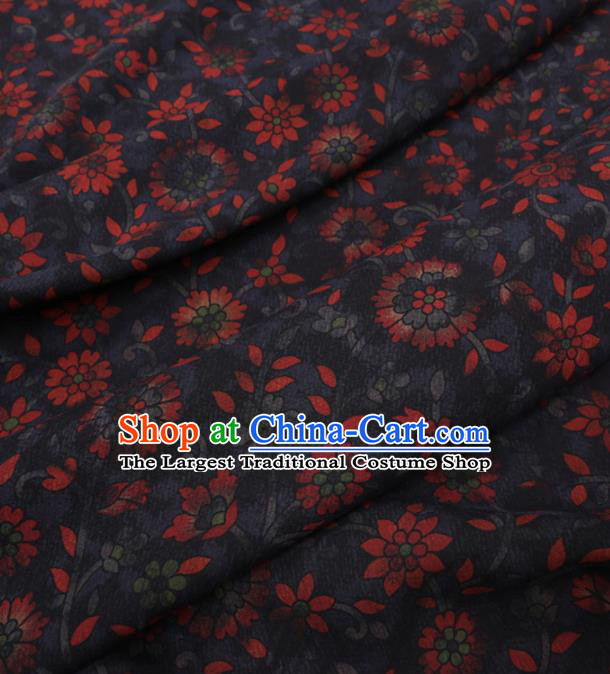 Traditional Chinese Classical Flowers Pattern Design Navy Gambiered Guangdong Gauze Asian Brocade Silk Fabric