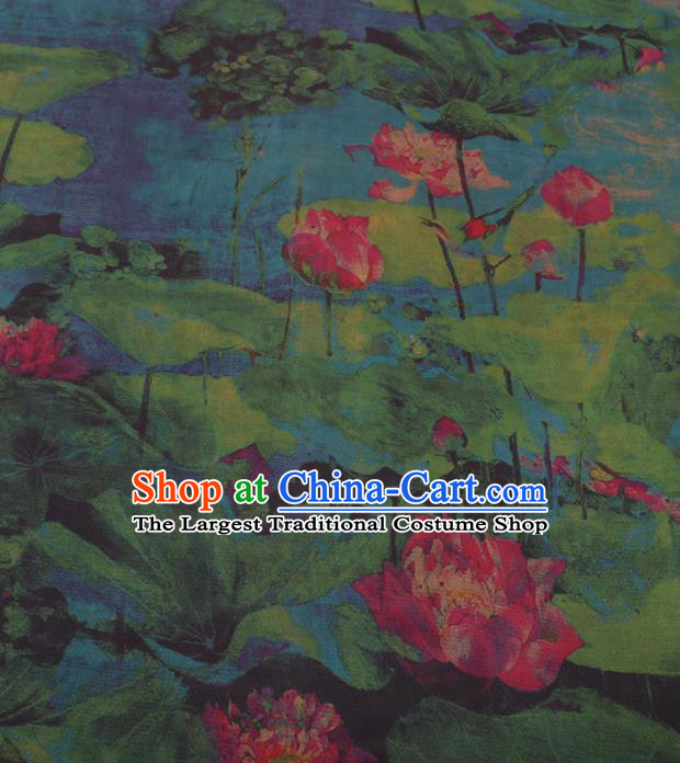 Traditional Chinese Classical Lotus Pattern Design Green Gambiered Guangdong Gauze Asian Brocade Silk Fabric