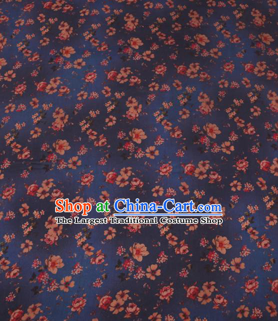 Traditional Chinese Classical Plum Blossom Pattern Design Navy Gambiered Guangdong Gauze Asian Brocade Silk Fabric