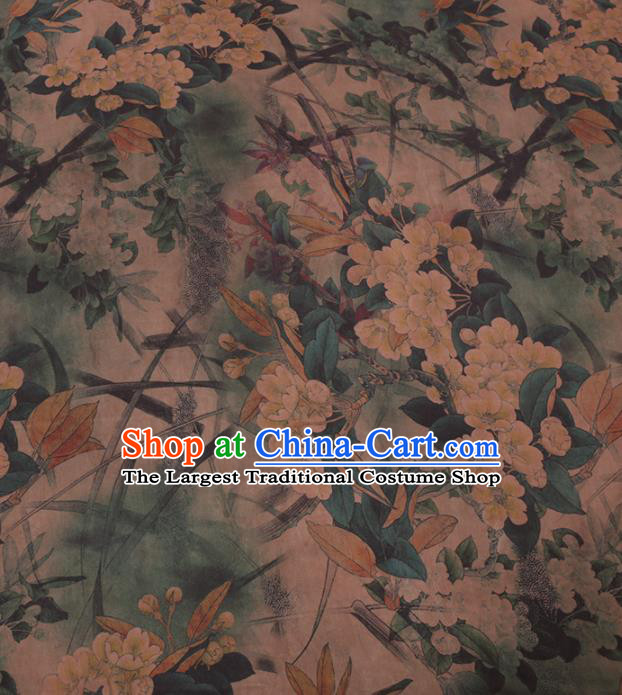 Traditional Chinese Classical Pear Flowers Pattern Design Gambiered Guangdong Gauze Asian Brocade Silk Fabric
